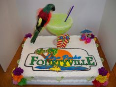 40th Birthday Margaritaville Theme - The cake is 12x18, all done in buttercream. I took the Margaritaville sign and gave it a personal twist for my friends 40th birthday. The Margarita is CAKE. I did a practice run to make sure the cake wouldn't split. I used half of the sports ball pan and put the green icing in a short lipped margarita class, to look like the drink is all the way in the glass. Sat the ball in the glass and decorated all the way down the glass. There are margarita picks on the…