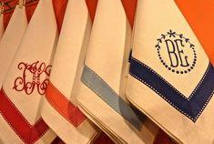 Monogrammed napkins with ribbon trim
