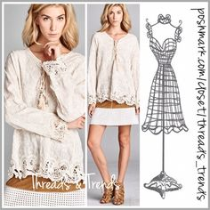 Embroidered Peasant Top Simply divine design. We are loving this look. Embroidered peasant top featuring cut out lace detail hemline and lace up bodice with tassels. Pair with tunic extenders for a unique added touch. Lace extender in above pic available and sold separately. Made of cotton. Size S, M, L colors indigo or Ivory. Threads & Trends Tops