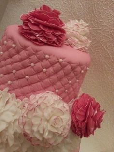 Pink Girly Cake ~ Ruffled bottom tier and ruffle pom pom flowers to decorate ~ all edible