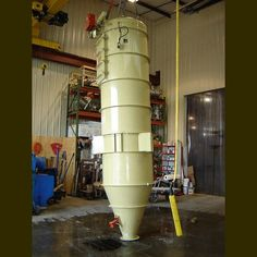 1300 CFM. Clean air outlet: 4 in. Air material inlet: 3 in. Hopper bottom outlet: 10 in. Carbon steel construction. NEMA 4-55LND control box. Pulsejet manifold containing 5 pulsejet...