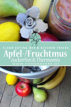 Thermomix Apfelmus zuckerfrei bzw. Apfel-/Fruchtmus ohne Zucker. Verfeinere dein Dessert und Nachtisch mit diesem einfachen und schnellen Rezept. Gesunde Ernährung, glutenfrei, Clean Eating oder aber auch vegan sind nicht schwer. #cleaneating #apfelmus #gesundeernährung #zuckerfrei #thermomix #glutenfrei #vegan #laktosefrei #ohnezucker #gesunderezepte #rezepte Clean Eating, Kitchen Hacks, Vegan, Cleaning, Apple, Fruit, Desserts, Food, Creme