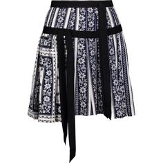 CINQ À SEPT   Amory grosgrain-trimmed printed silk-satin mini skirt ($225) ❤ liked on Polyvore featuring skirts, mini skirts, short pleated skirt, gathered skirt, panel skirt, short mini skirts and draped skirt