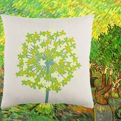 Color Inspiration from van Gogh for AGAPANTHUS (meadow) pillow, printed on 55% linen/45% cotton fabric.