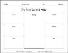 The 5 W's and How Free Printable Worksheet