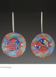 Jewelry by Lauren Pollaro - enamel on copper, fabric, sterling
