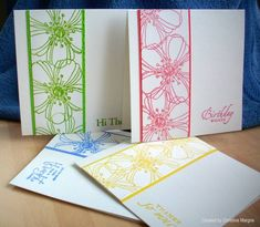 colorful card set with different sentiments by Christine Margrie.... would make a cute gift set - #Stampendous Fresh Bloom - still a favorite!!