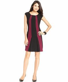 Alfani Dress, Cap-Sleeve Colorblock A-Line