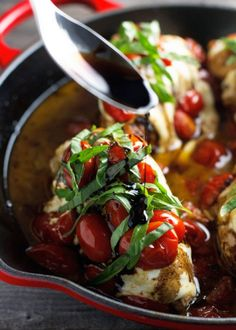 Baked caprese chicken with a sweet garlic balsamic reduction. Tender chicken breasts baked with melted mozzarella and cherry tomatoes, topped with basil. Baked Caprese Chicken, Baked Chicken Breast, Crispy Chicken, Chicken Breasts, Slow Cooker Soup, Slow Cooker Recipes, Sauce Recipes, Chicken Recipes, Chicken Meals