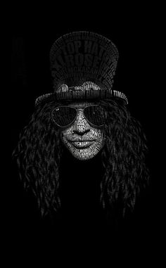 """Slash (Saul Hudson), Artistic Rendition of the renown TopHat, RayBan® Aviator sunglass, and Converse All-Star wearing founding lead guitarist of the would famous, multi-platinum, Grammy Award winning rock bands Guns N' Roses®, and Velvet Revolver®; always holding one of his many vintage Gibson® Les Paul Standard® """"Slash Signature"""" Guitars in front of several Marshall® Custom """"Slash Signature"""" Amplifier Stacks."""