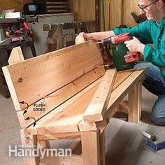 Build #DIY furniture like this wooden bench- Get the plans!