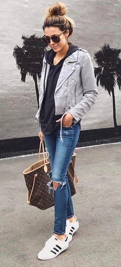 Grey suede jacket. Find your Inspiration @ #DapperNDame Pinterest. http://dapperanddame.com