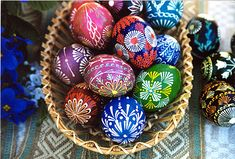 A basket of Lithuanian Easter wax resist eggs.