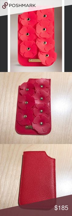 Authentic Burberry Prorsum Flower Phone Case This is brand new Burberry Prorsum Phone case in Deerskin and Rubber with flowers. It can be used as sleeve wallet.  - Red textured-leather (Deer) - Red silicone flowers, gold studs, designer plaque - Lined in red leather (Lamb) - Compatible with iPhone 5 and iPhone 5s Burberry Accessories Phone Cases