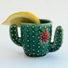Cactus Shot Glass  Succulent Espresso Cup  Handmade Ceramic