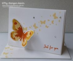 Watercolor Wings, Perpetual Birthday Calendar, Just For You version 2 card Perpetual Birthday Calendar, Teacher Cards, Butterfly Cards, Stamping Up, Card Making, Wings, Watercolor, Pta, Dragonflies
