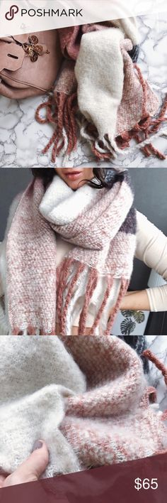 """""""Softest Way to My Heart Please"""" Scarf superbly soft blend of acrylic & wool, 6 colors come together in this color block style to create a stunning blush/cream tone, very warm and can double as a wrap with the large 68"""" wingspan. TSH Accessories Scarves & Wraps"""
