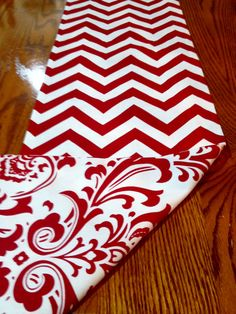 "Reversible Christmas Table Runner -Red and White- Damask and Chevron - 13"" x 72"""