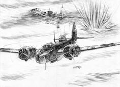Anti-submarine mission – Moris Georgios / Μώρης Γεώργιος Bristol Blenheim, Plane Drawing, Aviation Art, Aircraft, Watercolor, Drawings, Sketch, Memes, Ideas