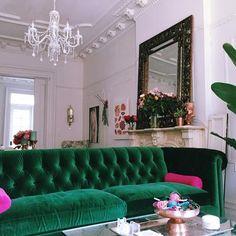 Velvet Petite Lyre Chesterfield Sofa, Hickory
