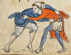 """Detail from """"The Rutland Psalter"""", medieval (c1260), British Library Add MS 62925. f 42r. Looks like they're playing a wrestling game"""