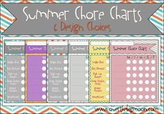 Summer Chore Charts - 6 Design Choices available blank or completed!  www.overthebigmoon.com