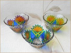 RichanaDragon ||| Hand painted stained glass. Sets of glassware. Сan be used as dinnerware, as a bowl candle holders or jewelry storage (holder).
