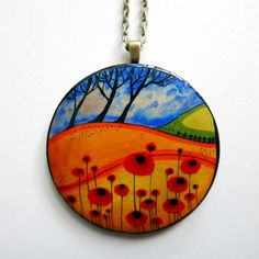 Poppy Field Hand painted wooden brooch or pendant by JaneGiunchi