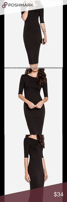 Solid Black Fitted Dress Sometimes simple is the best. That sure suits this dress. Only black with a gold zipper down back. Subtle but gorgeous drop in back. MIdi skirt length. Sleeves to elbows. Dress this up how YOU like! Dresses Midi