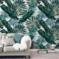 Tροπική διακόσμηση στο σπίτι με ταπετσαρία τοίχου με φύλλα φοίνικα! #vintagewallpaper #walldecoration #ταπετσαρίατοίχου #φύλλαφοίνικα #τροπικήδιακόσμηση