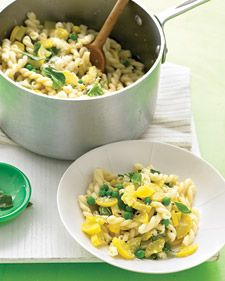yellow squash, pea, basil pasta