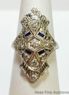 Fancy Long 18K White Gold Filigree Fine Diamond Sapphire Antique Ring  #Statement