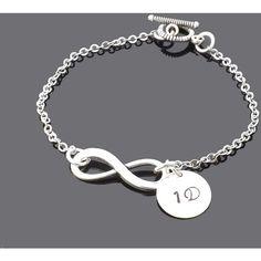 One Direction Infinity Bracelet (350 MXN) ❤ liked on Polyvore featuring jewelry, bracelets, infinity bangle, hand stamped jewelry and infinity jewelry
