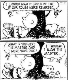 """Charlie Brown and Snoopy - Peanuts """"I thought I was the master. Peanuts Gang, Peanuts Cartoon, Charlie Brown And Snoopy, Peanuts Comics, Cartoon Dog, Cartoon Pics, Snoopy Comics, The Awkward Yeti, Snoopy Quotes"""