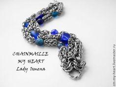 """Браслет """"Кетцалькоатль"""" - тёмно-синий, chainmaille, chainmaille my heart, lady ismena"""
