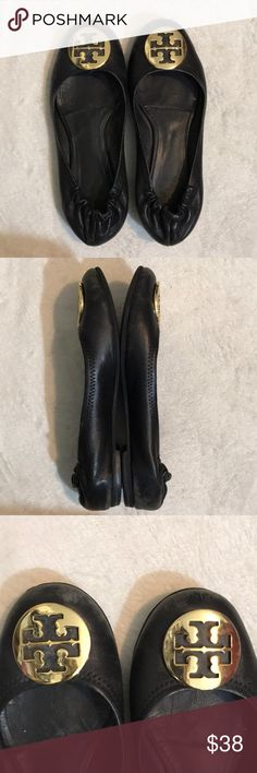 Tory Burch Black Reva Very Used Tory Burch Black Flat with Gold Logo. Pls check the pics and make me an offer Tory Burch Shoes Flats & Loafers