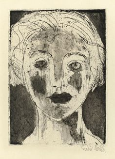amare-habeo:  Emil Nolde (German-Danish, 1867 - 1956)   The Picture of a Girl (Mädchenbildnis), 1924 etching