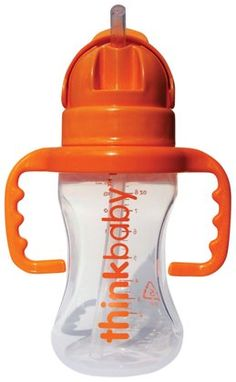 Thinkbaby THINKSTER Straw Bottle - a sippy cup with a soft silicone straw that doesn't leak when turned upside down. #giftsunder10 #stockingstuffer