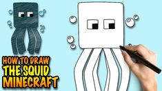 How to draw the Squid - Minecraft - Easy step-by-step drawing lessons fo...