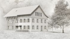 #architektur #zürich #Bauernhaus #wohnen #dorf #entwurf #holzhaus #detail #scheune #visualisierung #neubau #konstruktion #satteldach Cabin, House Styles, Outdoor, Home Decor, Gable Roof, Barn, Mockup, Log Home, New Construction
