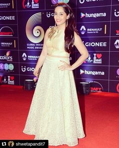 """manalijagtapofficial: """"#Repost @shwetapandit7  Thank you @colorstv @thegimas @wizcraft_india for a fabulous musical night.  Wearing @manalijagtapofficial my #goldenlook for the #redcarpet """""""