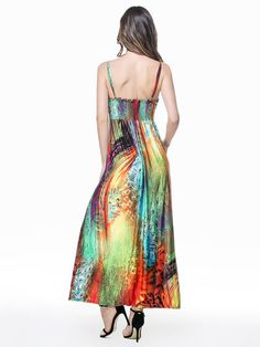 Summer Women Strap Printed Backless Beach Party Maxi Dress