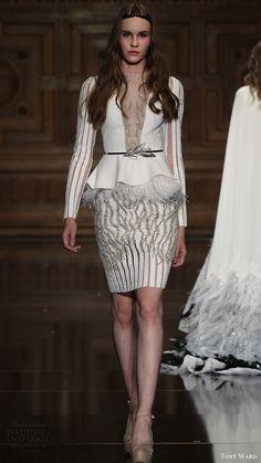 tony ward couture fall 2016 long sleeves illusion deep v neck feather peplum top mini skirt (41) mv