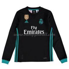 Fotballdrakter Barn Real Madrid 2017-18 Borte Draktsett Langermet Graphic Sweatshirt, T Shirt, Real Madrid, 18th, Sweatshirts, Long Sleeve, Sleeves, Sweaters, Mens Tops