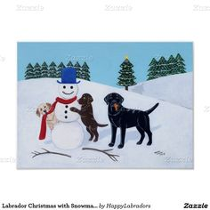 Labrador Christmas with Snowman Artwork Poster