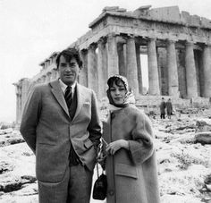Gregory Peck with his wife of more than 50 years Veronique Passani, during a visit to Greece in 1960