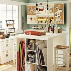 More craft room inspiration. I would LOVE to have my own little craft room/study some day! Craft Room Storage, Room Organization, Craft Rooms, Storage Ideas, Paper Storage, Table Storage, Office Storage, Basement Storage, Storage Containers
