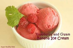 Raspberry Cream Banana Ice Cream  To make this, blend in a food processor:  1 1/2 frozen bananas ... 1/2 cup frozen raspberries 1/3 cup vanilla Greek yogurt Blend until smooth and creamy. Eat immediately or place in the freezer for a harder consistency. This flavor is creamy and delicious, but also refreshing!