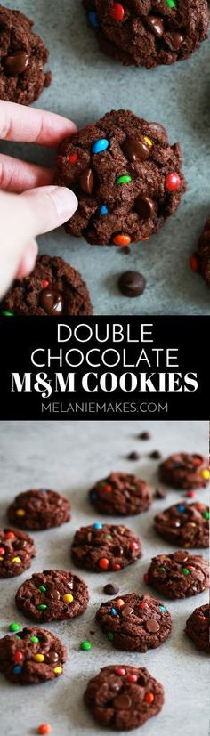 These Double Chocolate M&M Cookies are sure to be a new cookie jar staple. A cocoa infused chocolate chip cookie dough batter is bedazzled with dark chocolate chips and M&Ms candy, the perfect compliment to an icy cold glass of milk. #chocolate #m&m #cookies #candy #cookiejar #easydessert #dessertrecipe