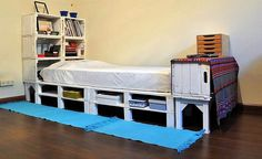 You can build this DIY all-in-one pallet wood single bed. This pallet wood is multi-purpose and gives you extra storage space for books, clothes and other accessories. you can leave it in its rustic form or else paint it in one or multiple colors. You can use wooden crates as shelves, also fulfilling the purpose of headboard.
